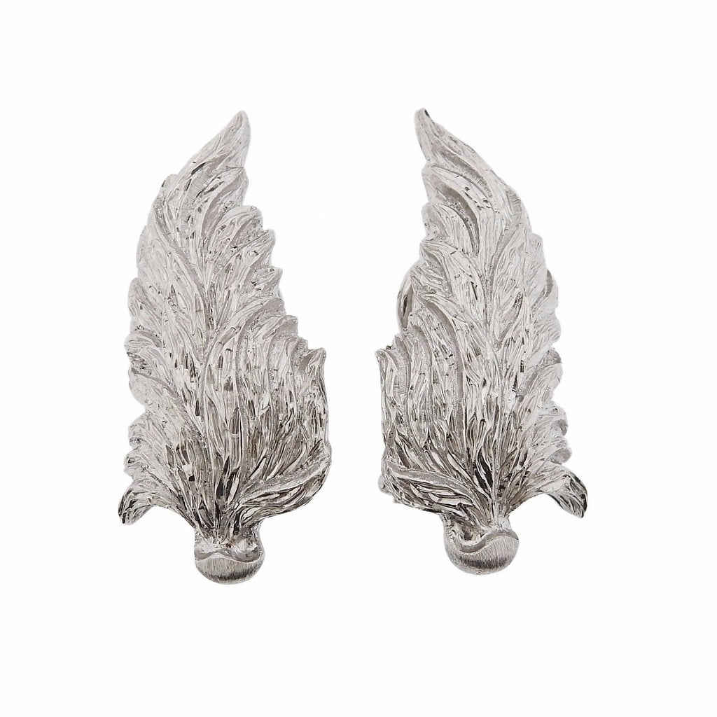thumbnail image of Buccellati Leaf Motif White Gold Earrings