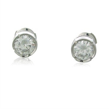 image of GIA Cert Fred Paris 18K Gold 2.00ct D VVS2 Diamond Stud Earrings