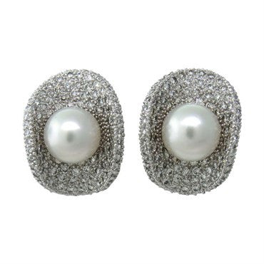 image of Impressive White 18k Gold 12ctw Diamond South Sea Pearl Earrings