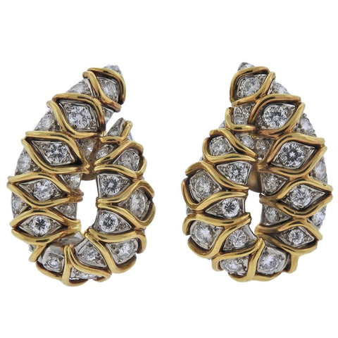image of Fine Diamond Platinum Gold Earrings