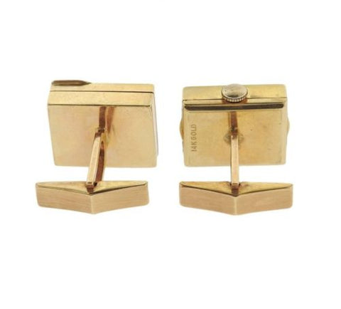 image of Mid Century Diamond 14k Gold Watch Cufflinks