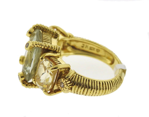 image of Judith Ripka 18K Yellow Gold Quartz Diamond Ring