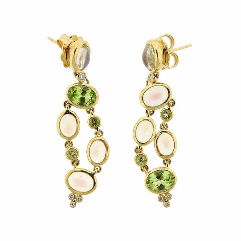 image of Temple St. Clair Diamond Moonstone Peridot 18k Gold Earrings