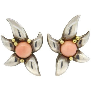 image of 1990s Tiffany & Co. Coral Sterling Gold Earrings