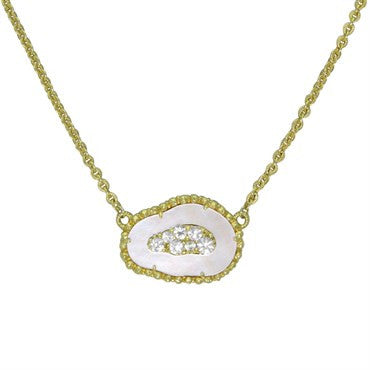 image of Judith Ripka 18K Gold MOP Gem Set Necklace