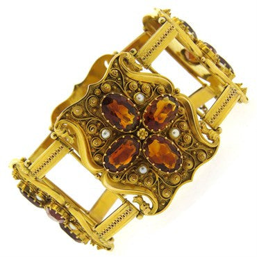 image of Antique 1850s Natural Pearl Garnet 14k Gold Bracelet
