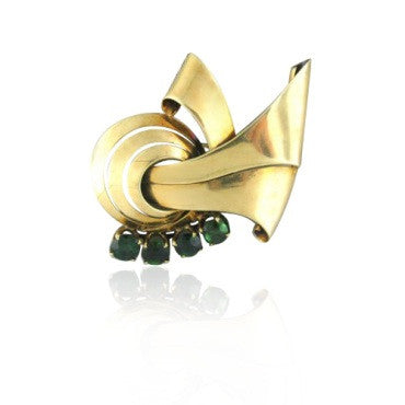 image of Vintage Tiffany & Co 14k Gold Tourmaline Brooch Pin