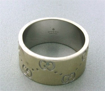 image of Estate Gucci 18K White Gold Wide Band Ring