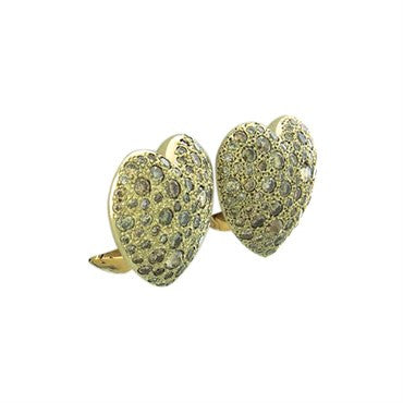 thumbnail image of New Pomellato Sabbia 18k Gold 4.22ctw Fancy Diamond Heart Earrings
