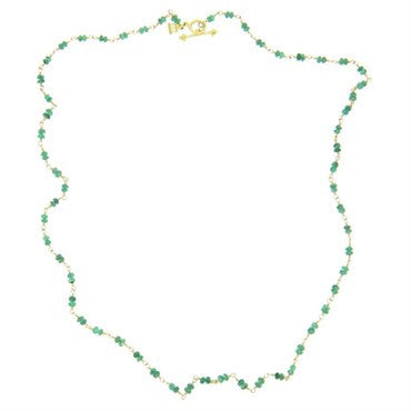 image of Temple St. Clair Karina Emerald Bead 18k Gold Toggle Necklace