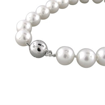 image of Certified 15mm South Sea Pearl Gold Diamond Necklace