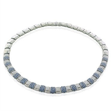 image of New Roberto Coin 18K White Gold Diamond Sapphire Appassionata Necklace