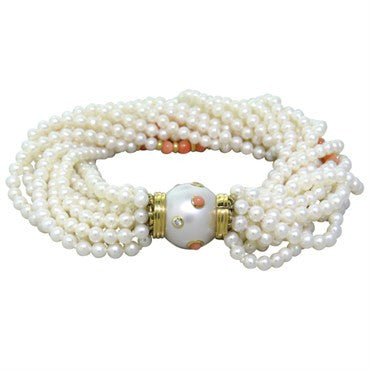 thumbnail image of Trianon Coral Pearl Diamond Gold Multi Strand Bracelet
