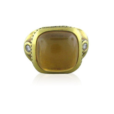 image of Estate Seidengang 18k Gold Athena Citrine Diamond Ring