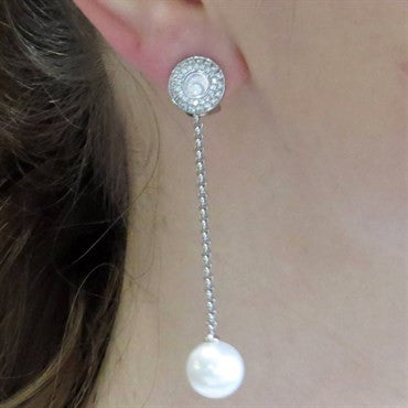 image of New Chopard Floating Diamond Gold Pearl Long Drop Earrings