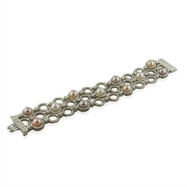 image of New Krypell Sterling 14k Gold Pearl Link Bracelet