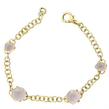 image of New Pomellato Capri 18k Gold Rose Pink Clear Quartz Bracelet