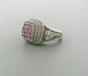 image of Judith Ripka Sterling Silver CZ Rose Quartz Ring