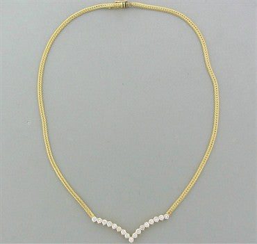 image of Vintage Hammerman Brothers 14K Yellow Gold 2.04ctw Diamond Necklace