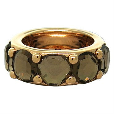 image of New Pomellato Sassi 18k Gold Smokey Quartz Band Ring