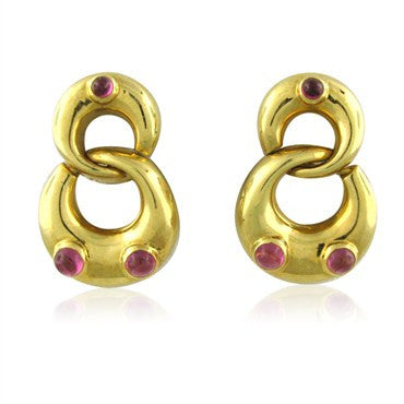 thumbnail image of Tiffany & Co 18K Yellow Gold Pink Tourmaline Earrings