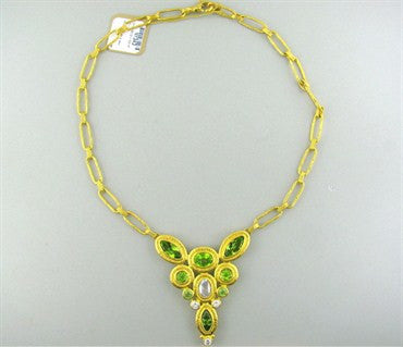 image of New Gurhan Periwinkle 24K Gold Peridot Diamond Necklace
