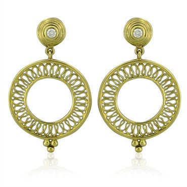image of Temple St. Clair 18K Gold Diamond Circle Drop Earrings