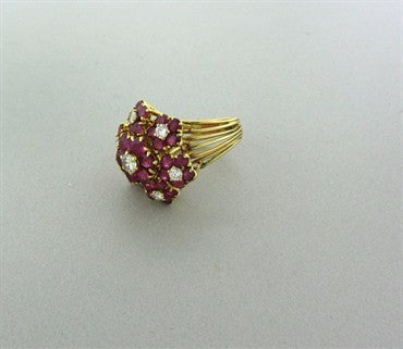 thumbnail image of Vintage Tiffany & Co 18k Yellow Gold Ruby Diamond Ring