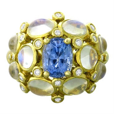 thumbnail image of Temple St. Clair 18k Gold Blue Moonstone Sapphire Diamond Cluster Ring