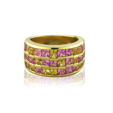 thumbnail image of Salvini 18K Gold 3.50ctw French Cut Pink Yellow Sapphire Ring