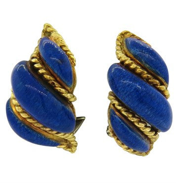 image of 1960s Tiffany & Co. Blue Enamel 18k Gold Earrings