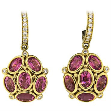 image of Temple St. Clair Nirvana Pink Tourmaline Diamond 18k Gold Earrings