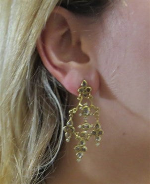 image of H. Stern 18k Gold Diamond Smokey Quartz Chandelier Earrings