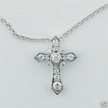 thumbnail image of New Hearts on Fire 18k Gold Diamond Cross Pendant Necklace