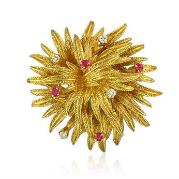 thumbnail image of Vintage Tiffany & Co 18k Gold Diamond Ruby Brooch