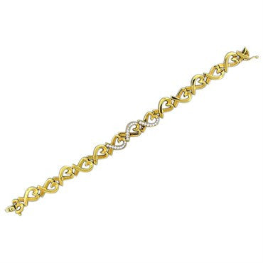 image of Tiffany & Co Paloma Picasso Loving Heart 18K Gold Diamond Bracelet