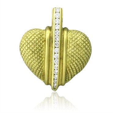 image of Estate Judith Ripka 18K Yellow Gold Diamond Heart Pendant
