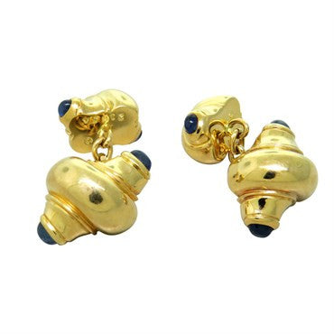image of Seaman Schepps Gold Shell Cufflinks with Sapphires