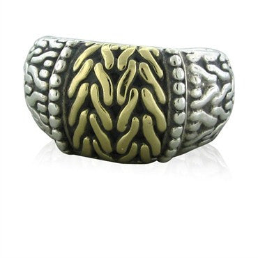 thumbnail image of John Hardy Sterling Silver 18K Yellow Gold Ring