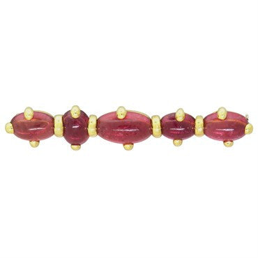 image of New Pomellato 18k Gold Pink Tourmaline Brooch Pin