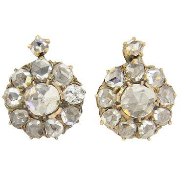 image of Early Victorian Rose Cut Diamond 14k Gold Leverback Earrings