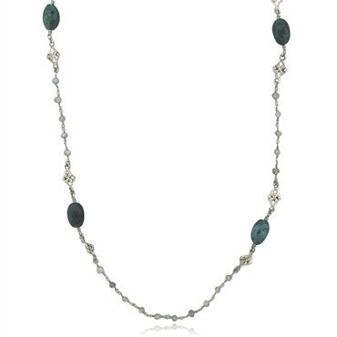 image of Estate Armenta Sterling Silver Diamond Bloodstone Labradorite Necklace