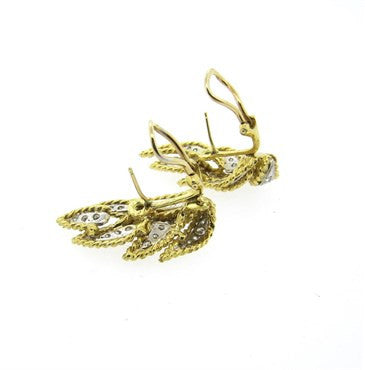 thumbnail image of 1970s Hammerman Brothers Diamond Gold Leaf Motif Earrings
