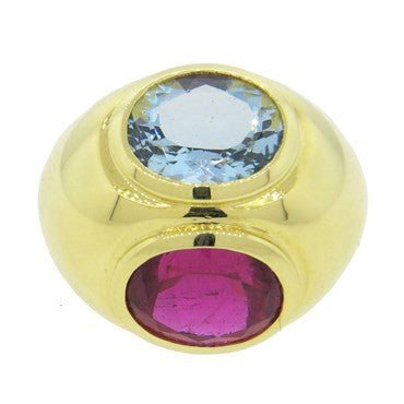 image of Tiffany & Co Picasso Rubellite Tourmaline Aquamarine 18k Gold Ring