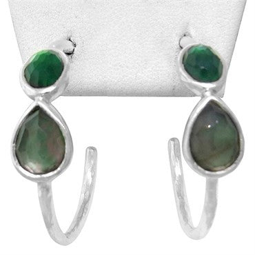 image of New Ippolita Sterling Wonderland Two Gemstone Gelato Hoop Earrings