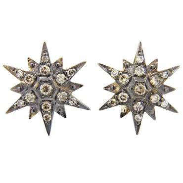 image of H Stern Stars Collection Diamond 18k Gold Stud Earrings