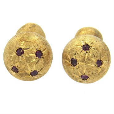 thumbnail image of Retro Brushed 14k Gold Ruby Cufflinks