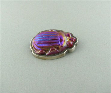 thumbnail image of Estate Tiffany & Co Scarab Glass Sterling Silver Brooch Pin