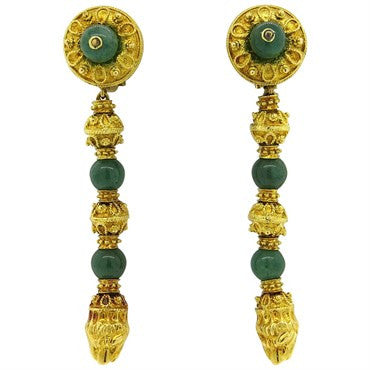 image of Impressive Greek Nephrite 18k Gold Chimera Long Drop Earrings