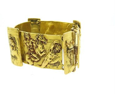 thumbnail image of Unusual Massive Italian Roman Mythology Wide 18k Gold Bracelet 115g